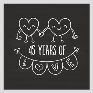 45th Anniversary Gift Chalk 5.25 x 5.25 Flat Cards