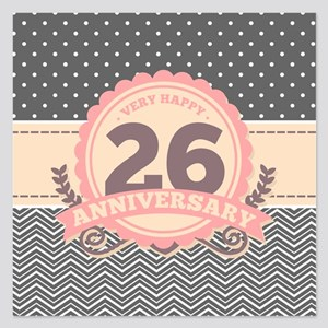 26th Anniversary Gift Chevr 5.25 x 5.25 Flat Cards