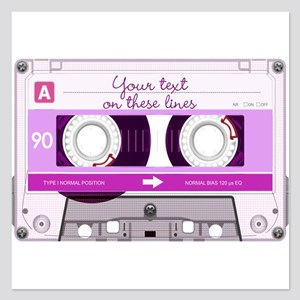 Cassette Tape - Pink 5.25 x 5.25 Flat Cards