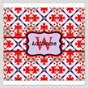 Red Scaly Diamond Pattern C 5.25 x 5.25 Flat Cards