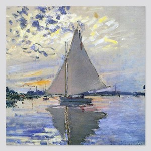 Claude Monet Sailboat 5.25 x 5.25 Flat Cards
