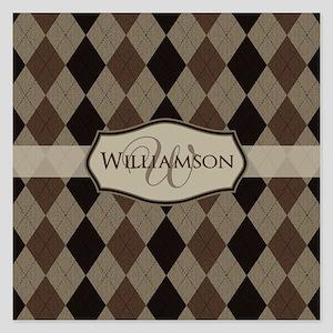 Brown Argyle Monogram Name 5.25 x 5.25 Flat Cards
