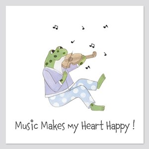 Personalized Frog - Music 5.25 x 5.25 Flat Cards