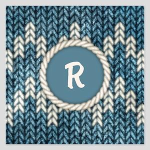 MONOGRAM Knit Graphic Blue 5.25 x 5.25 Flat Cards