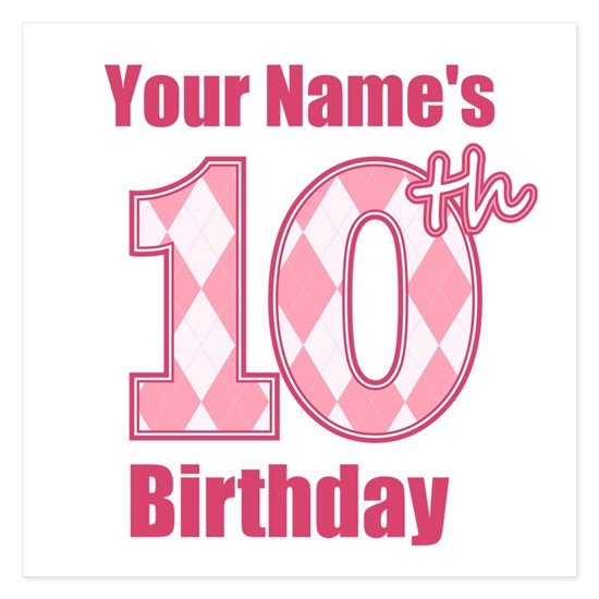 Pink Argyle 10th Birthday - Personalized!
