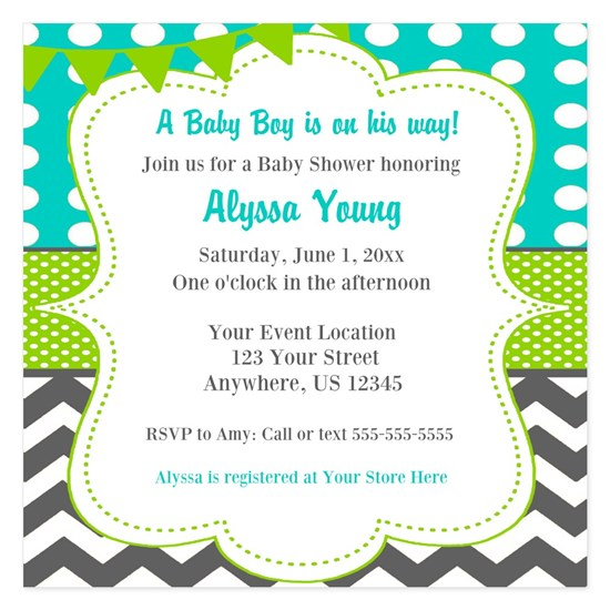 Teal Green Chevron Invitation