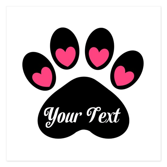 Personalizable Paw Print Pink