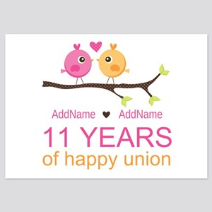 11th Anniversary Personalized 5x7 Flat Cards