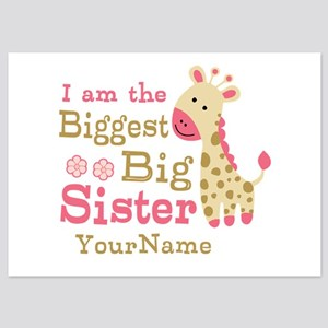 Biggest Big Sister Personalized Pink Giraffe 5x7 F