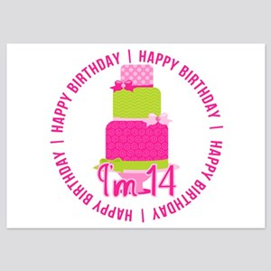 14th Birthday Pink Cake 5x7 Flat Cards