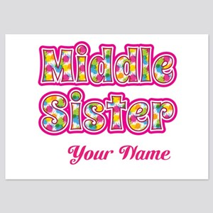 Middle Sister Pink Splat - Personalized Flat Cards
