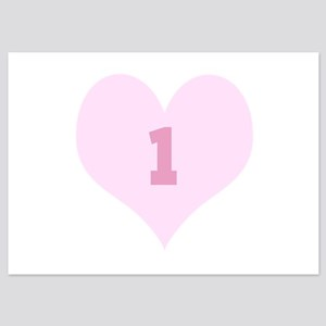 Pink Number 1 Heart Invitations