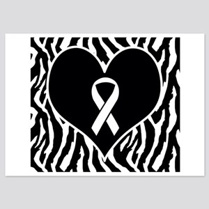 Lung Cancer Zebra Heart 5x7 Flat Cards