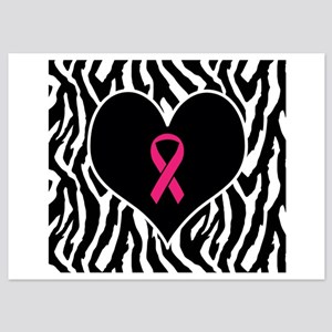 Breast Cancer Zebra Print 5x7 Flat Cards