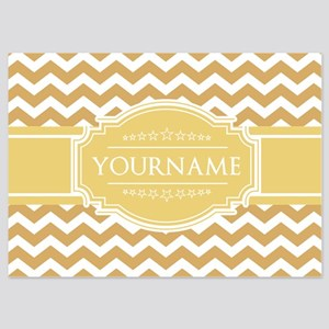 Butterscotch Gold Chevron Personali 5x7 Flat Cards