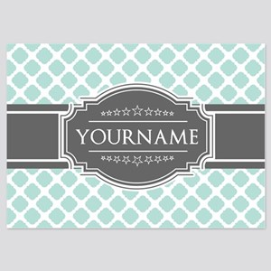 Mint and Gray Moroccan Quatrefoil M 5x7 Flat Cards