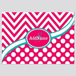 Hot PinkTeal Chevron Dots Monogram 5x7 Flat Cards