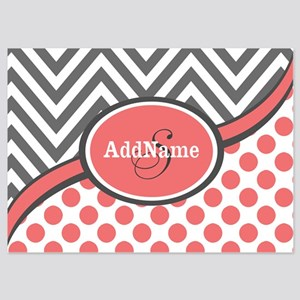 Gray and Coral Chevron Custom Monog 5x7 Flat Cards