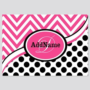 Black White Chevron Bright Pink Mon 5x7 Flat Cards