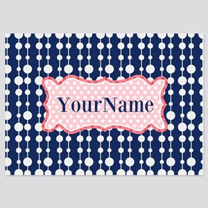 Navy Blue and Pink Polka Dots Monog 5x7 Flat Cards