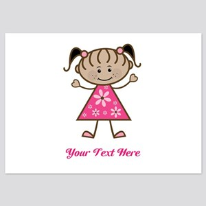 Pink Stick Figure Ethnic Girl 5x7 Flat Cards