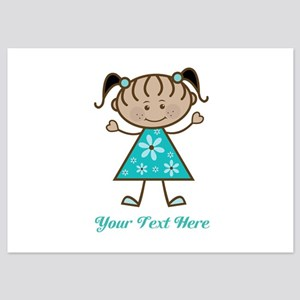 Teal Stick Figure Ethnic Girl 5x7 Flat Cards