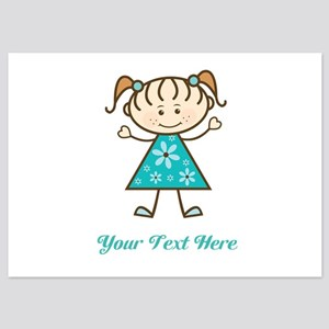 Teal Stick Figure Girl 5x7 Flat Cards