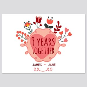 Personalized 9th Anniversary 5x7 Flat Cards