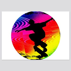 Skateboarding on Rainbow Grunge Invitations