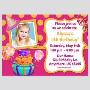 Pink Orange Girls Birthday Invite 5x7 Flat Cards