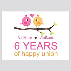 6th Anniversary Personalized 5x7 Flat Cards