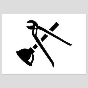 Crossed plumber tools 5x7 Flat Cards