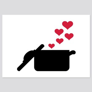 Cooking pot red hearts 5x7 Flat Cards