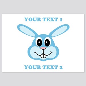 PERSONALIZE Blue Bunny 5x7 Flat Cards