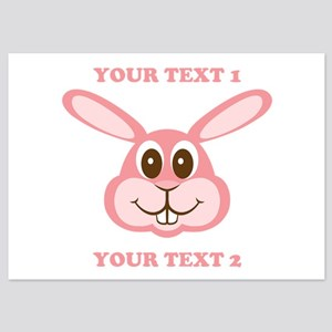 PERSONALIZE Pink Bunny 5x7 Flat Cards