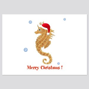 Personalized Christmas Seahorse 5x7 Flat Cards