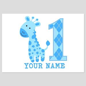 Blue Giraffe First Birthday 5x7 Flat Cards
