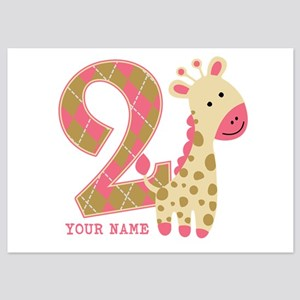 2nd Birthday Giraffe Personalized 5x7 Flat Cards