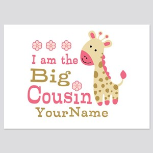 Pink Giraffe Big Cousin Personalized 5x7 Flat Card