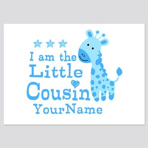 Blue Giraffe Personalized Little Cousin 5x7 Flat C