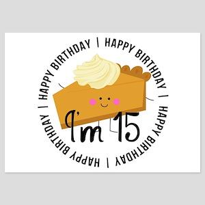 15th Birthday Pie 5x7 Flat Cards