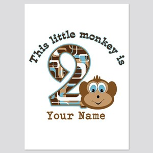 2nd Birthday Monkey Personalized 5x7 Flat Cards