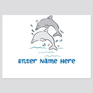 Personalized Dolphins 5x7 Flat Cards