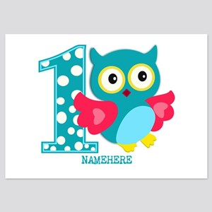 Cute First Birthday Owl 5x7 Flat Cards