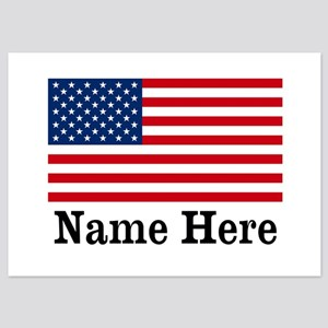 Personalized American Flag 5x7 Flat Cards