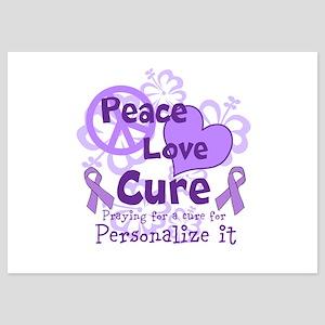 Purple Peace Love Cure Flat Cards