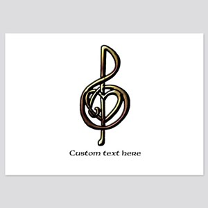 Personalized Music Treble Clef Meta 5x7 Flat Cards