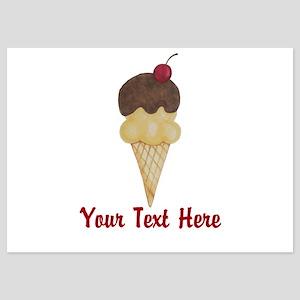 Personalizable Double Scoop Ice Cream Invitations