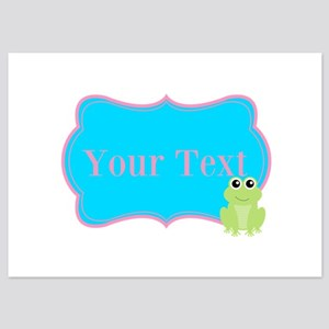 Personalizable Frog on Pink Teal Invitations