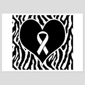 Lung Cancer Zebra Heart 5x7 Flat Cards